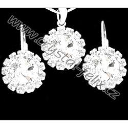 Hezké rhodiované šperky JM zdobené krystaly SWAROVSKI RIVOLI + OBRUČ  45 cm