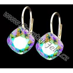 Kvalitní stříbrné náušnice JM zdobené se čtverečky SWAROVSKI  Violet fialové, anglické klapky Ag925