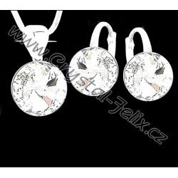 Kvalitní stříbrná souprava JM zdobená krystaly SWAROVSKI RIVOLI Heliotrope, anglické klapky Ag925