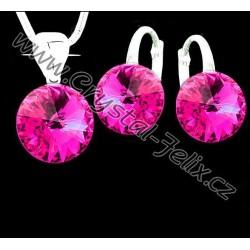 Kvalitní stříbrná souprava JM zdobená krystaly SWAROVSKI RIVOLI fialové Violet, anglické klapky Ag925