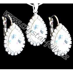 Hezká rhodiovaná svatební souprava JM zdobená krystaly SWAROVSKI KAPKY + OBRUČ  45 cm