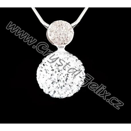 ŘETÍZEK + Stříbrný náhrdelník JM kulička zdobená krystaly SWAROVSKI Crystal  čirá 4d002ecbd14
