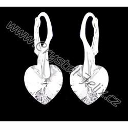 KVALITNÍ STŘÍBRNÉ NÁUŠNICE JM zdobené krystaly  SWAROVSKI HEART srdíčka čiré, stříbro dětské Ag925