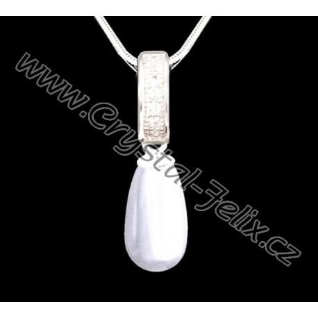 3339ef386 ŘETÍZEK + Stříbrný náhrdelník JM s perlou SWAROVSKI Pearl, bílá perla kapka  + zdobený závěs, stříbro Ag925