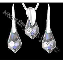KVALITNÍ STŘÍBRNÝ SET JM zdoben SWAROVSKI  visacími krystaly , stříbro Ag925, kapky