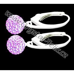 KVALITNÍ STŘÍBRNÉ NÁUŠNICE JM kuličky zdobené krystaly SWAROVSKI fialové Violet,  anglické klapky Ag925 - i dětské