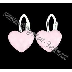 DĚTSKÉ STŘÍBRNÉ náušnice JM  zdobené krystaly SWAROVSKI srdíčka Heart pudrově růžová, Ag925