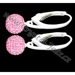 KVALITNÍ STŘÍBRNÉ NÁUŠNICE JM kuličky zdobené krystaly SWAROVSKI růžové,  anglické klapky Ag925 - i dětské