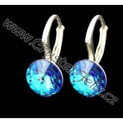 RHODIOVANÉ STŘÍBRNÉ NÁUŠNICE JM zdobené krystaly SWAROVSKI RIVOLI Bermuda Blue, menší dětské klapky, stříbro ryzosti Ag925
