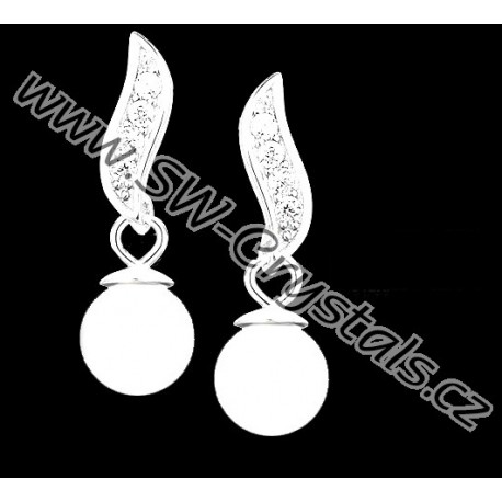 Nádherný stříbrný set s řetízkem - bílé perly s čirými zirkony SWAROVSKI e943cb8966a