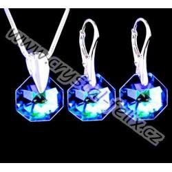 KVALITNÍ SOUPRAVA JM zdobená krystaly SWAROVSKI OCTAGON SAHARA limitovaná edice, STŘÍBRO Ag925