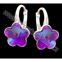 KVALITNÍ STŘÍBRNÉ RHODIOVANÉ NÁUŠNICE JM zdobené krystaly SWAROVSKI FLOWER kytičky NEON fialové, anglické klapky Ag925