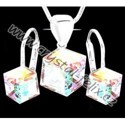 Stříbrný set JM s kostičkami SWAROVSKI CUBE, speciální jemné klapky Ag925