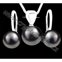 KVALITNÍ STŘÍBRNÝ SET JM zdobený perlami SWAROVSKI šedé perly, anglické klapky Ag925