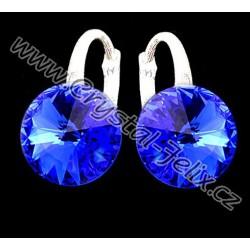 KVALITNÍ STŘÍBRNÉ NÁUŠNICE JM zdobené krystaly SWAROVSKI RIVOLI modré, anglické klapky Ag925