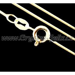 STŘÍBRNÝ ŘETÍZEK HÁDEK plný 0,8 mm, délky 45 cm, k našim šperkům, Ag925 + POZLACENO