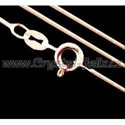 STŘÍBRNÝ ŘETÍZEK HÁDEK plný 0,8 mm, délky 45 cm, k našim šperkům, Ag925 + POZLACENO růžovým zlatem