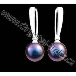 KVALITNÍ STŘÍBRNÉ NÁUŠNICE JM s perlami SWAROVSKI modré perly, anglické klapky Ag925