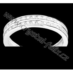 Stříbrný rhodiovaný prsten se zirkony SWAROVSKI Ag925
