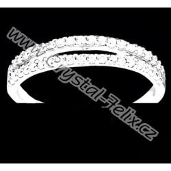 STŘÍBRNÝ RHODIOVANÝ PRSTEN JM osazen krystalky ZIRCONIA v čiré barvě,  stříbro Ag925 RH + krabička