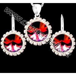 KVALITNÍ RHODIOVANÝ SET JM zdoben červenými krystaly SWAROVSKI RIVOLI SIAM + OBRUČ  45 cm
