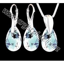 ŘETÍZEK + KVALITNÍ STŘÍBRNÝ SET JM zdobený krystaly SWAROVSKI hrušky Moonlight, čiré kapky s odleskyAg925