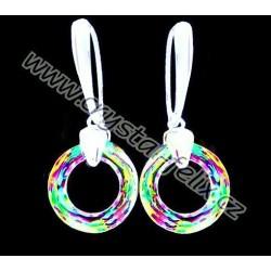STŘÍBRNÉ NÁUŠNICE JM s krystaly SWAROVSKI RING kroužky VITRAIL LIGHT, stříbro Ag925