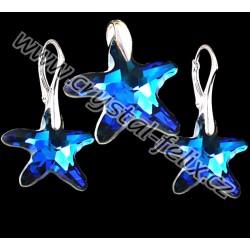 KVALITNÍ STŘÍBRNÝ SET JM s krystaly SWAROVSKI hvězdice Bermuda Blue, anglické klapky Ag925