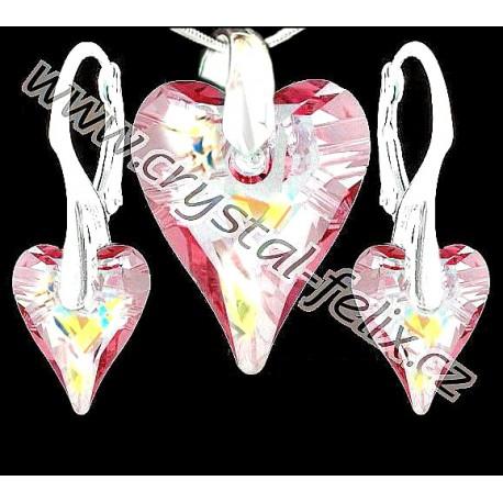 dc27ba3b0 KVALITNÍ STŘÍBRNÁ SADA JM zdobená krystaly SWAROVSKI WILD HEART srdce RŮŽOVÉ  AB, stříbro Ag925