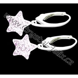 KVALITNÍ STŘÍBRNÉ NÁUŠNICE JM zdobené hvězdičky s krystaly SWAROVSKI čiré Crystal, stříbro Ag925