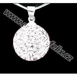 ŘETÍZEK + Stříbrný náhrdelník JM kulička zdobená krystaly SWAROVSKI Crystal čirá, stříbro Ag925