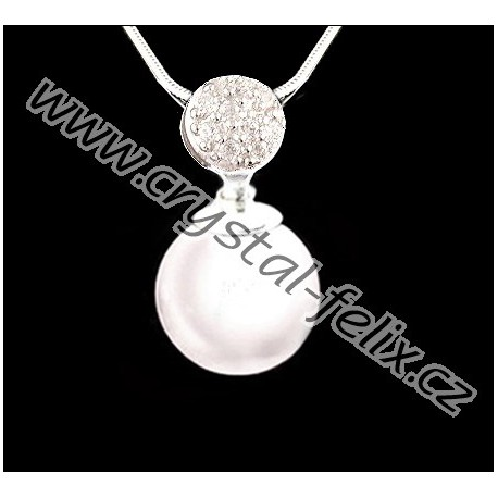 483e57a67 ŘETÍZEK + Stříbrný náhrdelník JM s perlou SWAROVSKI Pearl, bílá perla +  zdobený závěs, stříbro Ag925