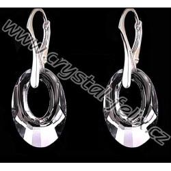 STŘÍBRNÝ NÁUŠNICE JM s krystaly SWAROVSKI HELIOS Silver Night, tmavě šedá s odlesky, stříbro Ag925