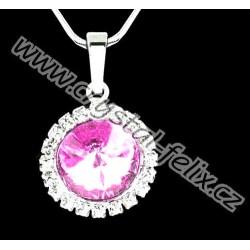 RHODIOVANÝ ŘETÍZEK + NÁHRDELNÍK JM zdoben krystaly SWAROVSKI RIVOLI LIGHT ROSE růžový