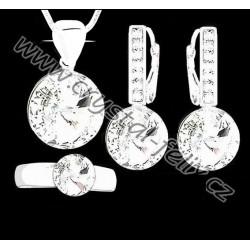 STŘÍBRNÝ ŘETÍZEK + SOUPRAVA JM zdobená krystaly SWAROVSKI RIVOLI CRYSTAL ČIRÉ, kamínkové klapky Ag925