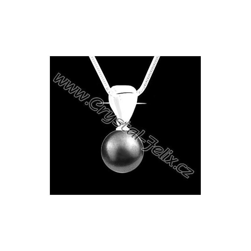 29c2c6d2d ŘETÍZEK + Stříbrný náhrdelník JM s perlou SWAROVSKI Pearl, šedá perla,  stříbro Ag925
