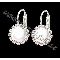 DĚTSKÉ RHODIOVANÉ NÁUŠNICE JM zdobené perlami Swarovski White Pearl půlperly, klapky zdobené kamínkové