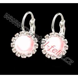 DĚTSKÉ RHODIOVANÉ NÁUŠNICE JM zdobené perlami Swarovski ROSALINE Pearl půlperly, klapky zdobené kamínkové