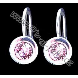 RHODIOVANÉ NÁUŠNICE JM zdobené krystaly SWAROVSKI CHATON Rosaline růžové