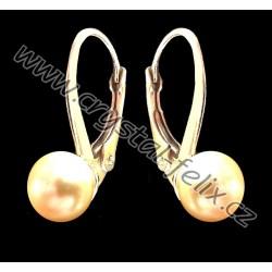 STŘÍBRNÉ POZLACENÉ DĚTSKÉ NÁUŠNICE JM s perlami SWAROVSKI, zlaté perly Golden Pearl Ag925