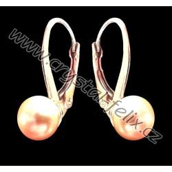 STŘÍBRNÉ POZLACENÉ DĚTSKÉ NÁUŠNICE JM s perlami SWAROVSKI, zlaté perly Golden Peach Pearl Ag925