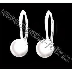STŘÍBRNÉ DĚTSKÉ NÁUŠNICE JM s perlami SWAROVSKI, bílé perly White Pearl, Ag925