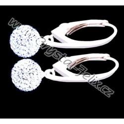 KVALITNÍ STŘÍBRNÉ NÁUŠNICE JM kuličky zdobené krystaly SWAROVSKI CRYSTAL ČIRÉ,  anglické klapky Ag925 - i dětské