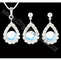 RHODIOVANÝ ŘETÍZEK + SET JM zdoben krystaly a perlami SWAROVSKI + RHODIOVANÝ ŘETÍZEK