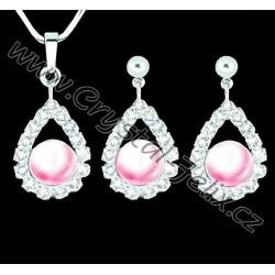 NÁDHERNÝ RHODIOVANÝ SET JM zdoben krystaly a perlami SWAROVSKI + RHODIOVANÝ ŘETÍZEK
