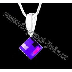 ŘETÍZEK + STŘÍBRNÝ NÁHRDELNÍK JM zdobený krystalem SWAROVSKI SQUARE čtvereček červený SIAM, stříbro Ag925