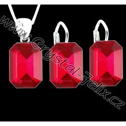 ŘETÍZEK + STŘÍBRNÝ SET JM zdobený krystaly SWAROVSKI v červené barvě SIAM, stříbro Ag925