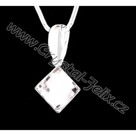 ŘETÍZEK + STŘÍBRNÝ NÁHRDELNÍK JM zdobený krystalem SWAROVSKI SQUARE čtvereček fialový HELIOTROPE, stříbro Ag925