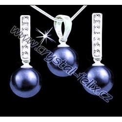 ŘETÍZEK + KVALITNÍ STŘÍBRNÝ SET JM zdobený perlami SWAROVSKI tahitské šedé perly, anglické kamínkové klapky Ag925