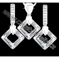 STŘÍBRNÝ ŘETÍZEK + LUXUSNÍ SET se SWAROVSKI krystaly SQUARE čtverce ČIRÉ  CRYSTAL CAL, stříbro Ag925